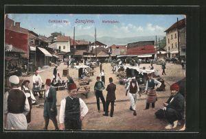 AK Sarajewo, Carsijski trg., Marktplatz mit Marktständen, Marktszene