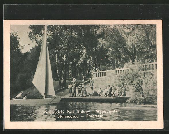 AK Kattowitz, Wojewódzki Park Kultury i Wypoczynku Stalinogród-Fragment, Segelboot