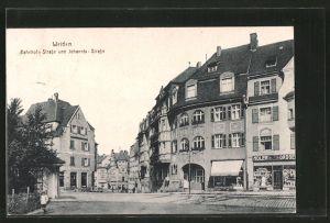 AK Weiden, Bahnhof-Strasse und Johannis-Strasse mit Geschäften