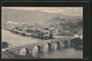 AK Bingen, Teilansicht mit Drususbrücke und Nationaldenkmal