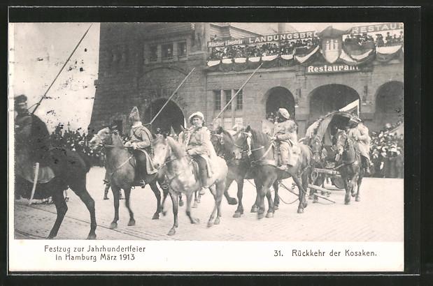 AK Hamburg-St. Pauli, Festzug zur Jahrhundertfeier 1913, Rückkehr der Kosaken an den Landungsbrücken