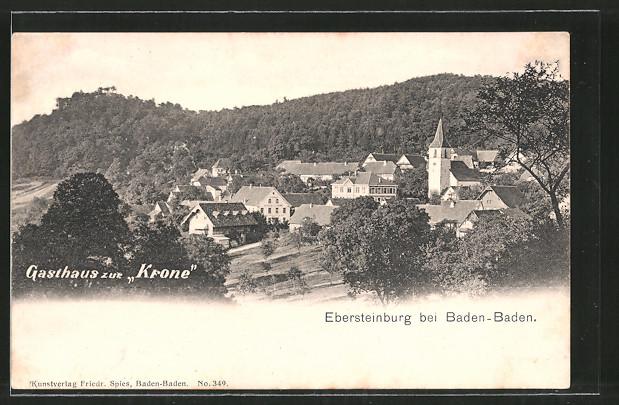 AK Ebersteinburg, Ortsansicht mit Kirche und Gasthaus zur Krone