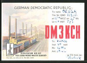 Künstler-AK Leuna, Klubstation der GST im VEB Leuna-Werke Walter Ulbricht, Funksport, DDR-Propaganda