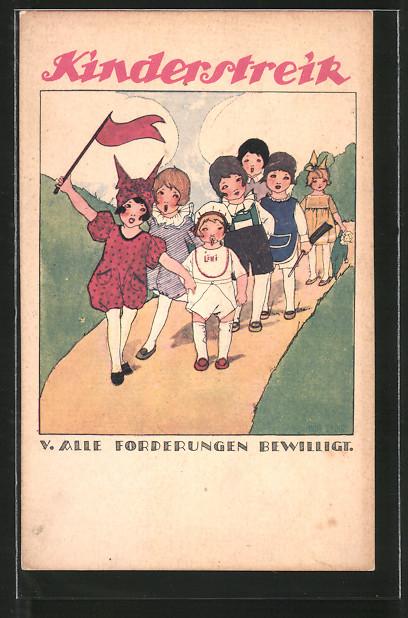 Künstler-AK Anny Tekauz: Kinderstreik, Kinder mit roter Fahne, Arbeiterbewegung