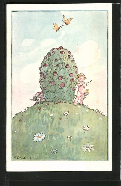 Künstler-AK F. Gareis: Amor steht neben einem Rosenstrauch, Schmetterlinge