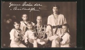 AK Kronprinz Wilhelm von Preussen und Familie, Zum Besten der Cecilienhilfe