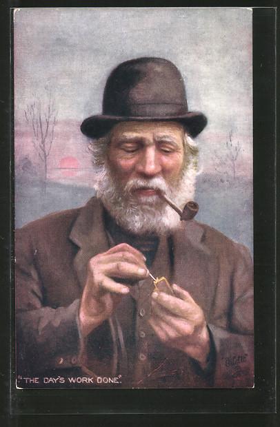 Künstler-AK Alter Mann raucht seine Pfeife,