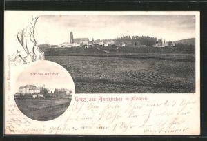 AK Pfarrkirchen, Schloss Altenhof, Ortsansicht mit Kirche