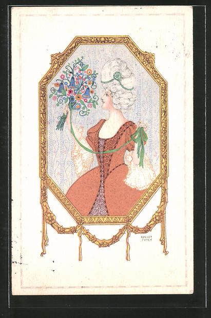 Künstler-AK August Patek: vornehme Dame mit Blumenstrauss