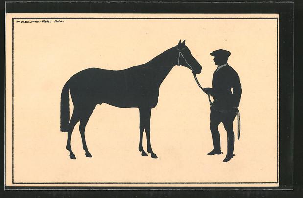 AK Reiter mit seinem Pferd, Scherenschnitt