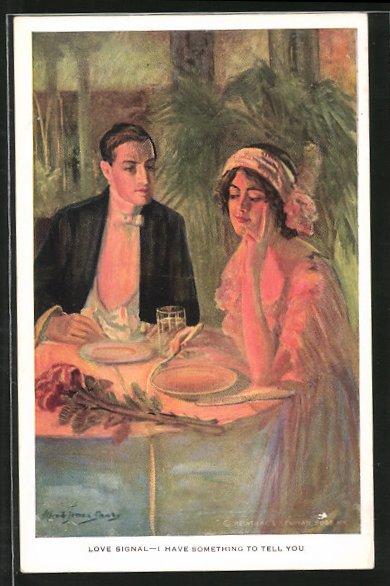 Künstler-AK Alfred James Dewey: Love Signal, Liebespaar sitzt im Restaurant