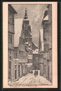 Künstler-AK Otto Ubbelohde: Tübingen, Blick von der Münzgasse auf die Stiftskirche
