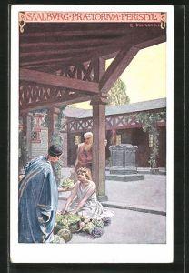 Künstler-AK Saalburg, Prätorium Peristyl