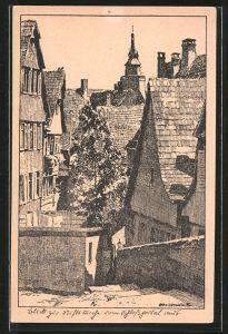 Künstler-AK Otto Ubbelohde: Tübingen, Blick vom Schlossberg zur Stiftskirche