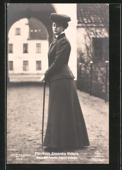 AK Prinzessin Alexandra Victoria, Braut des Prinz August Wilhelm von Preussen