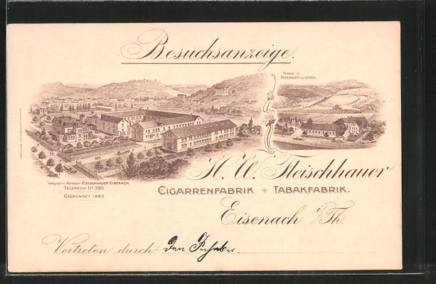 Lithographie Eisenach, Cigarren- und Tabakfabrik H. W. Fleischhauer, Ankündigung eines Vertreters