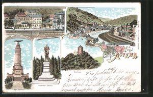 Lithographie Altena, Bahnhof, Bismarck-Denkmal, Kriegerdenkmal, Eisenbahn