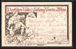 AK Wien, Deutscher-Volks-Gesang-Verein, Minnesänger und lauschende Frau