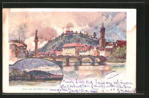 Künstler-AK Franz Kopallik: Graz, Teilansicht mit Brücke, Blick von der Bahn auf die Stadt