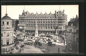 AK London, Charing Cross Station and Strand, Charing Cross Bahnhof