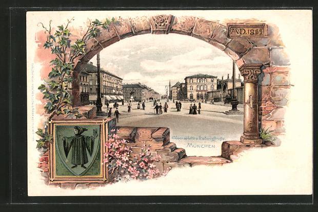 Passepartout-Lithographie München, Odeonsplatz und Ludwigstrasse, Wappen mit Münchner Kindl