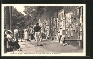 AK London, Artists show their pictures in the open-air at Hampstead