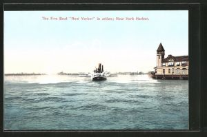 AK New York, NY, Feuerwehr-Boot, Fire Boat