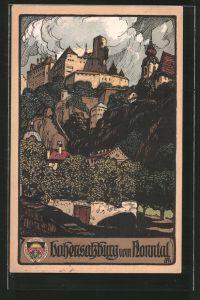 Steindruck-AK Salzburg, Festung Hohensalzburg vom Nonntal gesehen