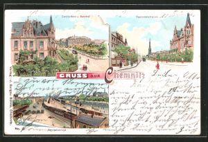 Lithographie Chemnitz, Carola-Hotel und Bahnhof, Bahnhof, Carolinenstrasse