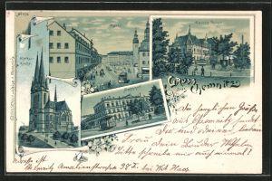 Lithographie Chemnitz, Carola-Hotel, Markus-Kirche, Bahnhof, Markt