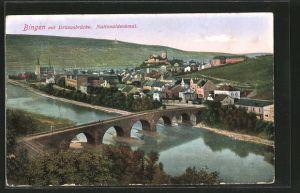 AK Bingen, Ansicht mit Drususbrücke und Nationaldenkmal