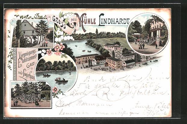 Lithographie Lindhardt, Gasthaus Pension Mühle Lindhardt mit Gartenlokal, Ruderboote