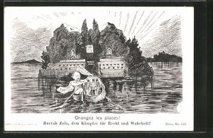 Künstler-AK Karikatur, Changez les places, Hurra Emile Zola-dem Kämpfer für Recht und Wahrheit!, Paty de Clam