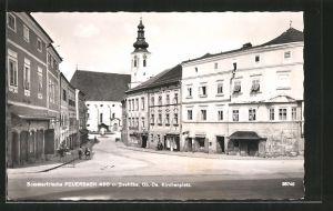AK Peuerbach, Strassenpartie am Kirchenplatz