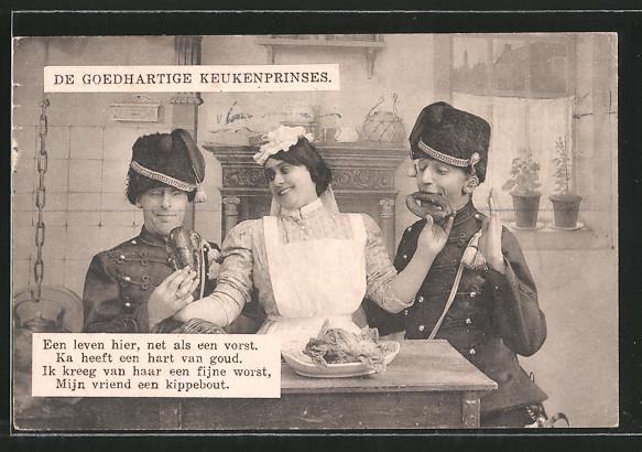 AK De Goedhartige Keukenprinses, Een leven hier, net als een vorst..., Soldaten und Dienstmädchen