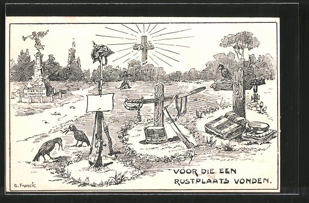 Künstler-AK Voor Die Een Rustplaats Vonden, Kriegsgräber