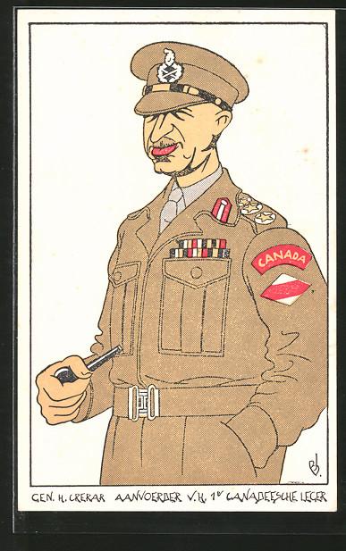 Künstler-AK Karikatur eines kanadischen Generals