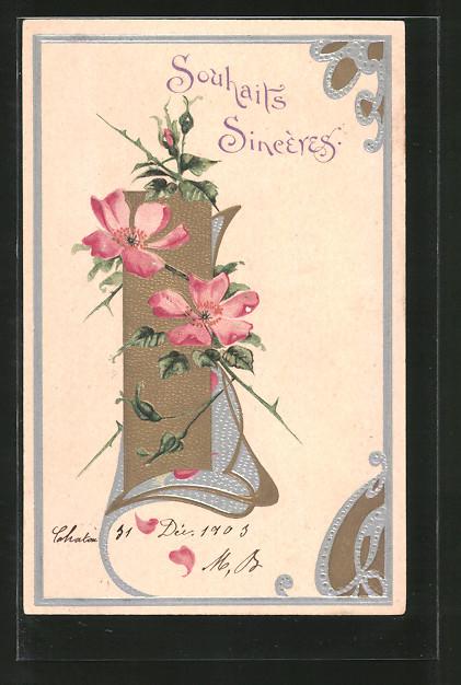 Präge-Lithographie Souhaits Sincères, Blumen und Jugendstilornamente