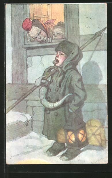 Künstler-AK Emil Beithan: kleiner Nachtwächter steht unter einem Fenster aus dem Mädchen gucken