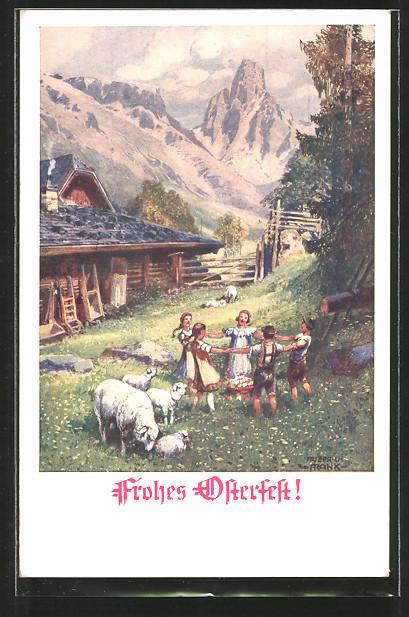AK Frohes Osterfest!, Kinder in den Alpen tanzen Ringelreihen