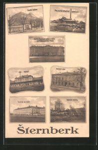 AK Sternberk, Nádrazí, Národní dúm, Továrna na tabák, Bahnhof