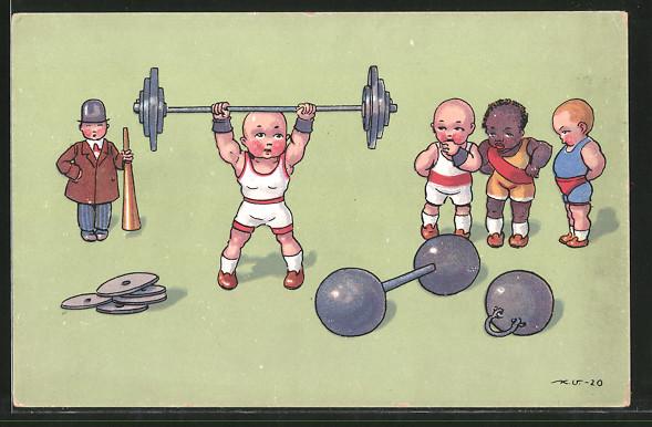 Künstler-AK Kleine Athleten beim Gewichtheben