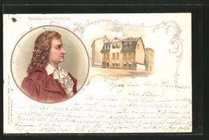 Lithographie Friedrich von Schiller, Portrait und Wohnhaus