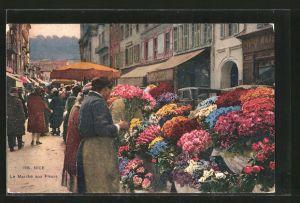 AK Nice / Nizza, Le Marche aux Fleurs, Blumenmarkt