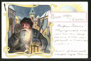 Lithographie Buon capo d'anno, Nachtwächter mit Laterne