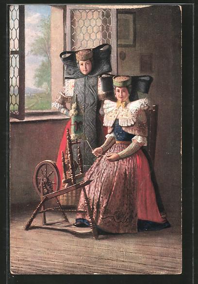 AK Schaumburg-Lippe, Frauen am Spinnrad in Tracht