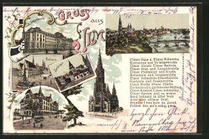Lithographie Ulm, Zundelthor, Rathaus, Justizgebäude, Saalbau