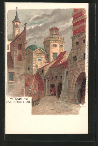 Lithographie Augsburg, Strassenpartie am rothen Tor