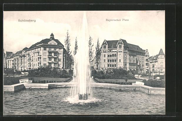AK Berlin-Schöneberg, Fontäne am Bayerischen Platz