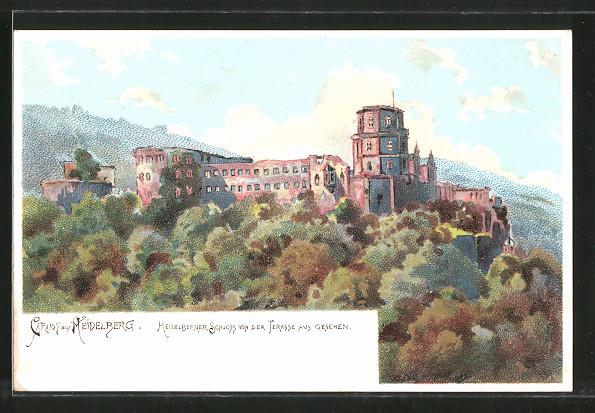 Lithographie Heidelberg, Schloss von der Terrasse aus gesehen